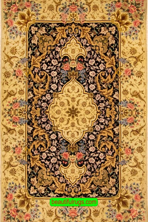 Hand knotted Persian Qum silk rug, high quality rug, floral pattern, black color background, soft green color border, silk pile on silk foundation, size 2.8x4.4, main image