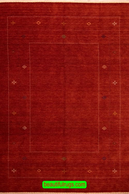 Hand Knotted Northwest Rugs, Gabbeh Style Rug, Red Color 8x10 Rug, main image