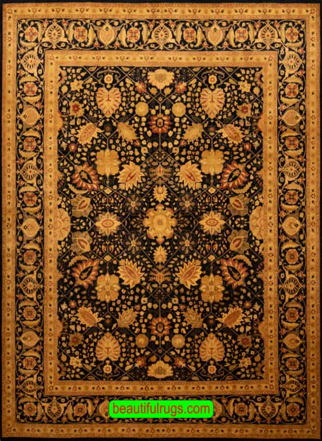 Hand Knotted Oriental Rug, Black Color Transitional Wool Mogul Rug, size 8.2x10.3, main image