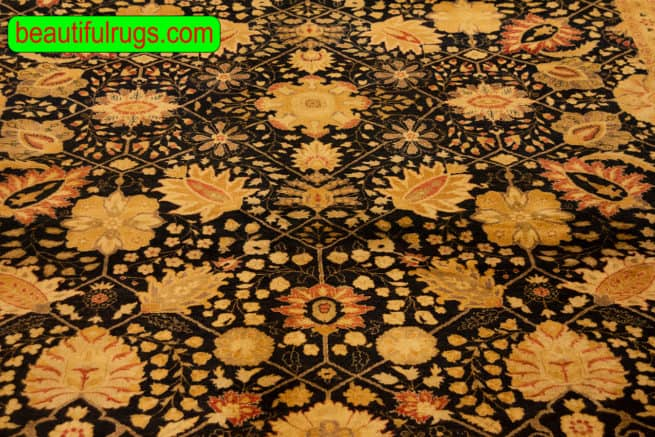 Hand Knotted Oriental Rug, Black Color Transitional Wool Mogul Rug, size 8.2x10.3, close up image