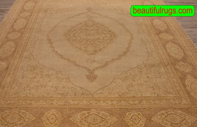 Hand Knotted Oriental Rug, Transitional Ziegler Rug, Earth Tone Color Rug, size 8.2x10.2, close up image