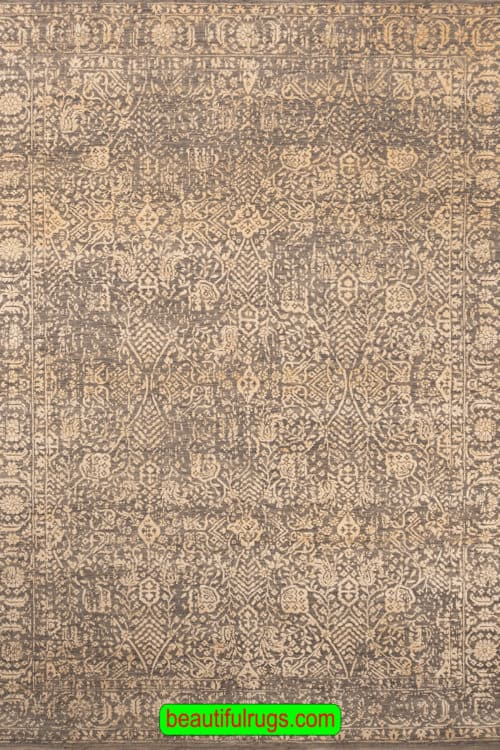 Handmade Rug, Transitional Rug, Brown and Gold Color Rug, size 6.1x8.10, main image