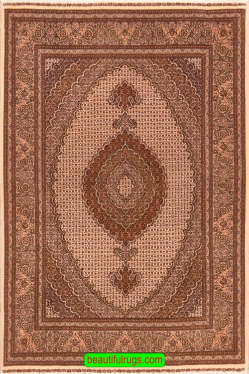 Fish Design Rug, 5x8 Rug, Handmade Persian Tabriz Rug with Beige Color, main image