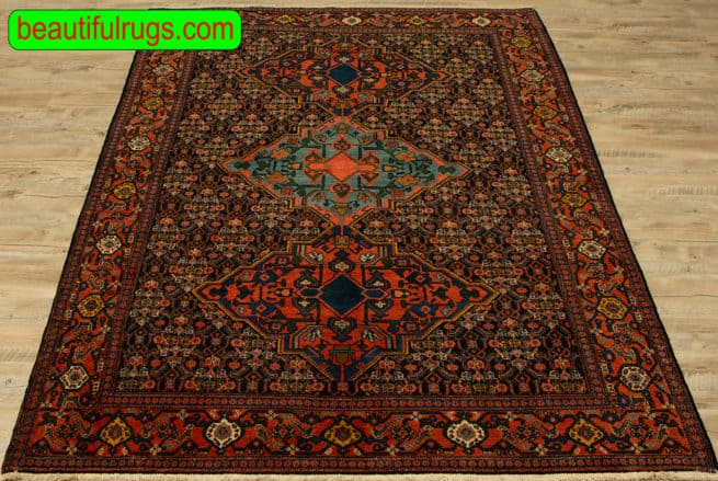 Antique Rug, Hand knotted Persian Senneh Rug, Vegetable Dyed Rug, size 4.6x7.5, close up image
