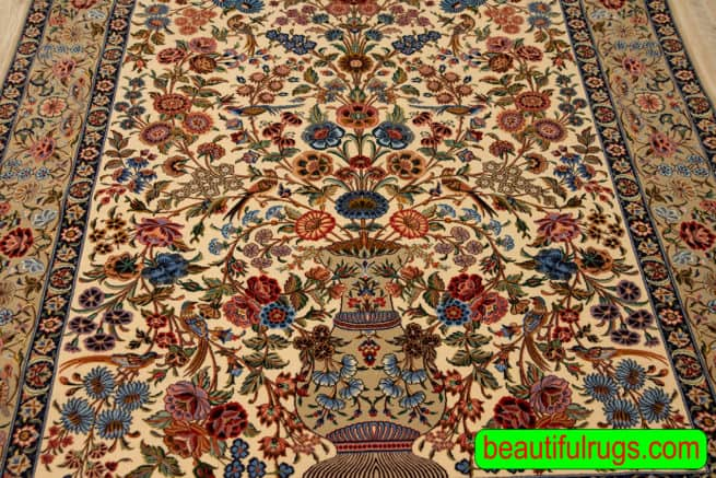 Hand Woven Rose and Nightingale Design or Golo Bolbol Design Rug By Ahmad Zojaji, size 5.2x7.6, close up image