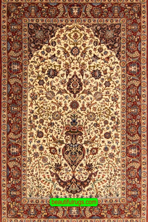 Hand Knotted Vase of Immortality Design Rug, Vegetable Dyed Persian Isfahan Rug By Ahmad Zojaji, size 4.9x7.4, main image