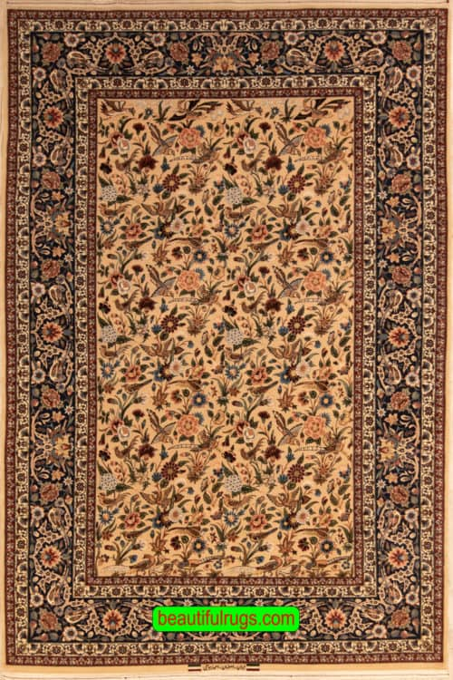 Hand Woven Rose and Nightingale Design Rug, Vegetable Dyed Persian Isfahan Rug, size 5.5x8.5, main image