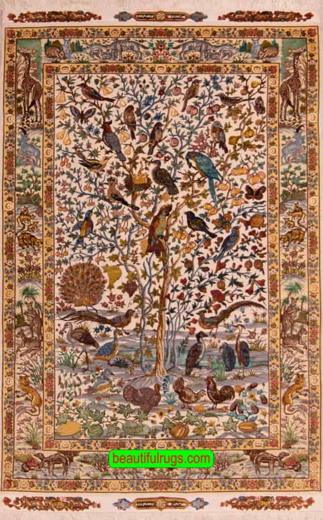 Handmade Tree of Life Rug, Persian Tabriz Tree of Life Rug with Birds, size 4.7x6.7, main image
