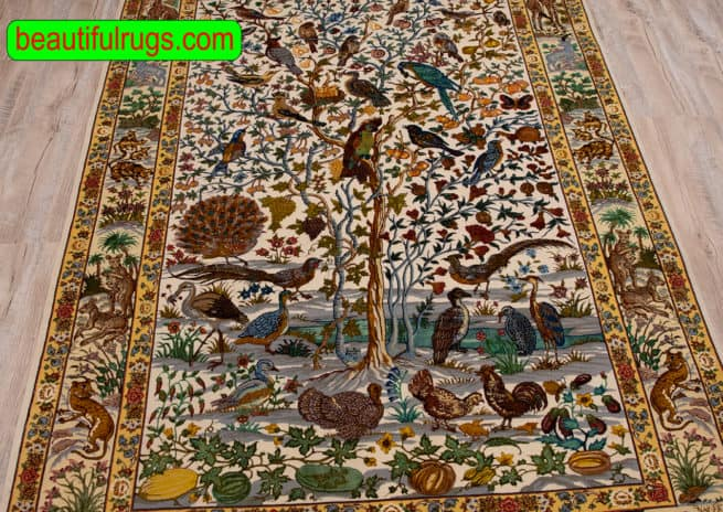 Handmade Tree of Life Rug, Persian Tabriz Tree of Life Rug with Birds, size 4.7x6.7, close up image