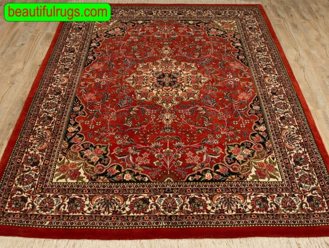 5x7 Rug, Handmade Persian Bijar Rug, Mauve and Rose Color Rug, close up image