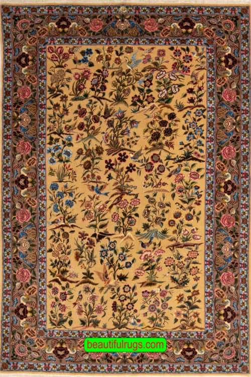 Very Fine Persian Tehran, Kurk & Silk on Silk Foundation, Antique and Collectible,, size 4.4x7 main picture