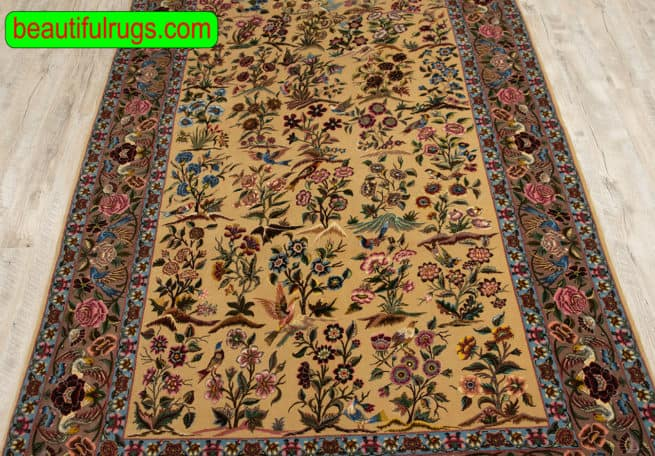 Very Fine Persian Tehran, Kurk & Silk on Silk Foundation, Antique and Collectible, close up picture