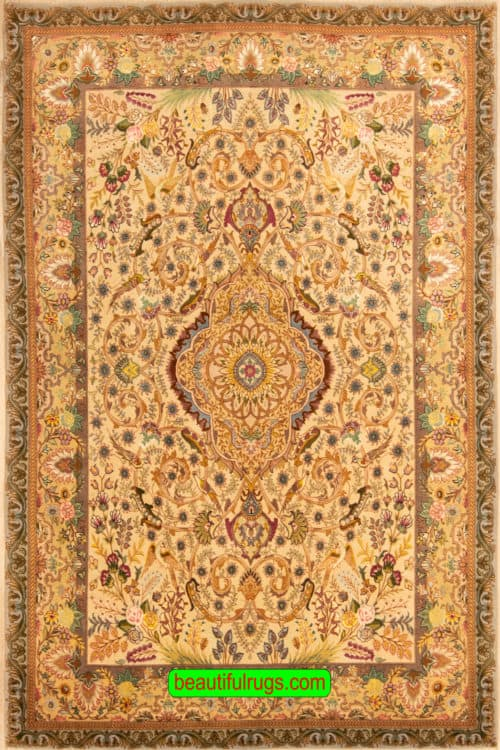 Beautiful Handmade Persian Tabriz Rug, Taupe, Brown & Beige Color Rug, size 5x7.2, main image