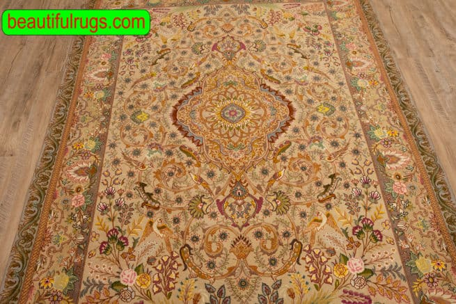 Beautiful Handmade Persian Tabriz Rug, Taupe, Brown & Beige Color Rug, size 5x7.2, close up image