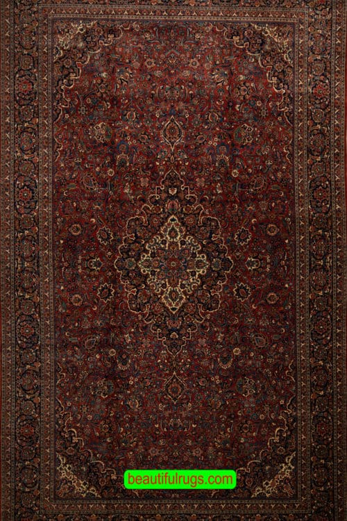 Oversized Rug, Hand Woven Rug, Antique Persian Kashan Rug, size 10.3x17, main image