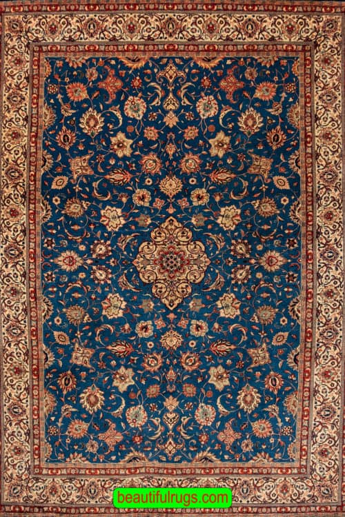 Blue Color Wool Rug, Handmade Persian Sarouk Rug, Traditional Rug, size 8x11.7, main image
