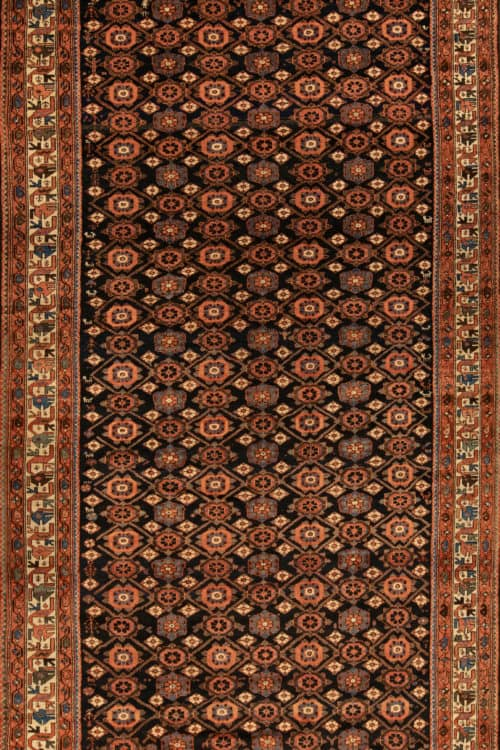 Vintage Persian Rug, Odd Size Rug, Allover Design Persian Veramin Rug, size 7x15.4, main image