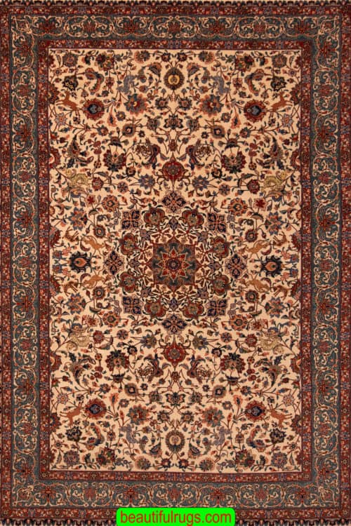 Old Persian Rug, Hand knotted Persian Tabriz Rug, Traditional Rug, size 6.9x10.2, main image