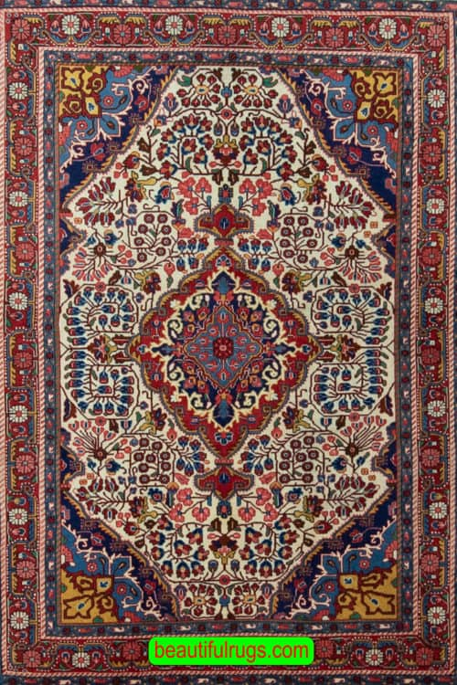 Persian Mahal Rug, Vintage floral Rug, Iranian Rug, Foyer Rugs, main image, size 3.5x5