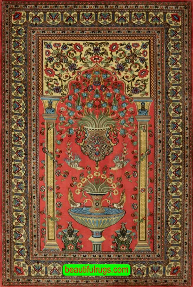Muslim Prayer Rug for Sale, Old Persian Rugs, Qum Rugs, main image, size 3.5x4.10