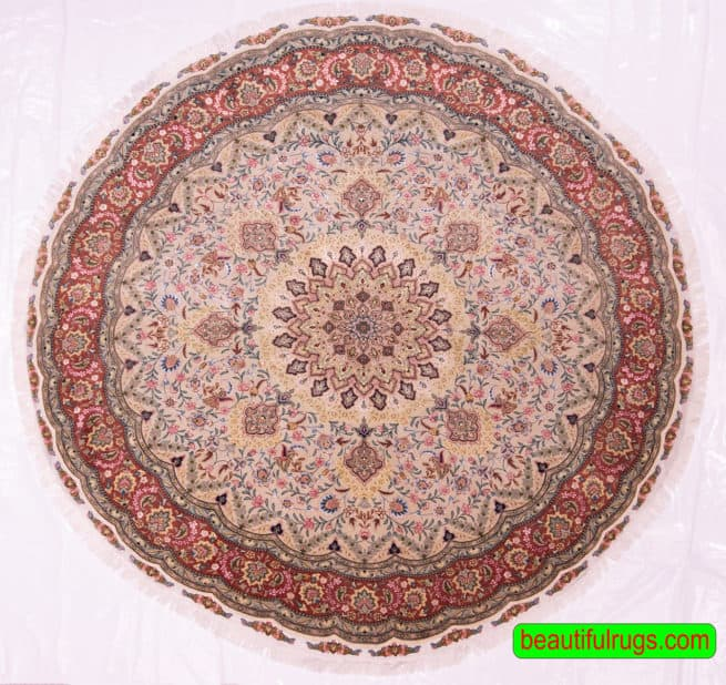 Round Rugs | Persian Rugs | Round Area Rugs | 6 Feet Round Rug, main image, size 6.8x6.8