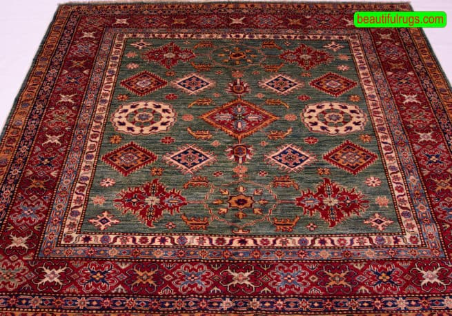 Square Rug | Kazak Rugs | Square Oriental Rug | 6 foot Round Kazak Rug, close up image, size 6x6