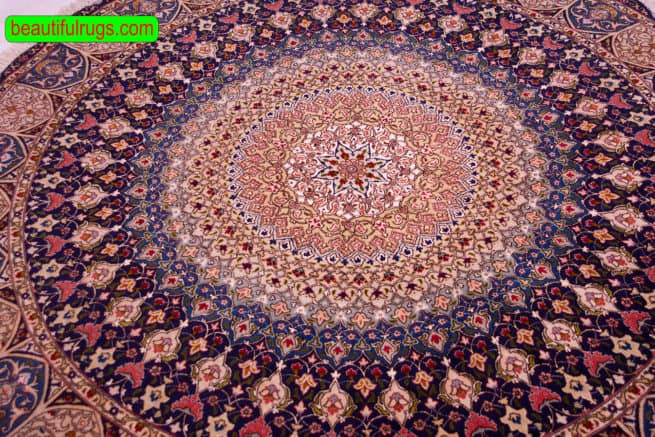 Round Rug | Persian Rugs | Round Oriental Rugs | Beautiful Rugs, close up image, size 6.7x6.7