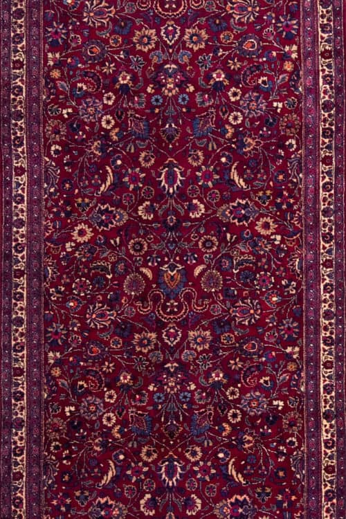Wide and long Persian Mashad Runner, Red Color Runner Rug, main image, size 4.3 x 16.9