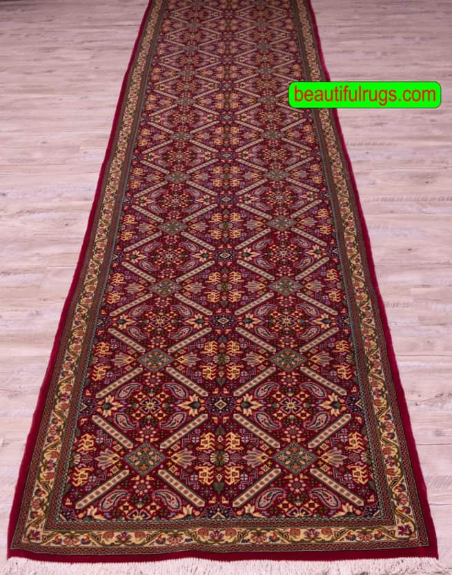 14 Foot Runner, Hallway Runner, Persian Qum Runner, close up image, size 2.10 x 13.6