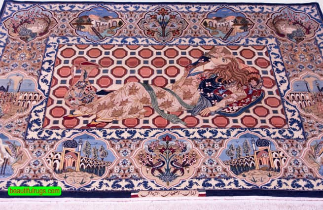 Horizontal Pictorial Rug, Fine Persian Isfahan Rug, size 4.9x3.6, close up image