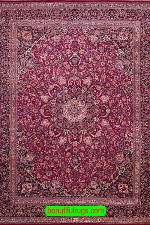 Fine Persian Mashad Rug, Raspberry Red Color Rug, main image, size 9.8x12.7