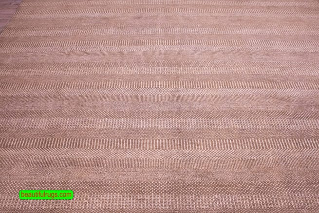 9x12 Rug, Brown and Beige Color Contemporary Rug, close up image, size 9.3x12