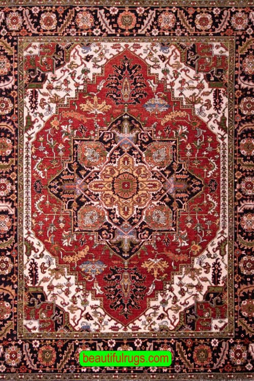 Terracotta and Black Color Rug, Geometric Oriental Rug, main image, size 8.3x10