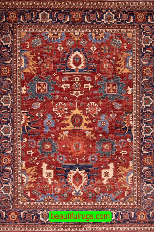 8×11 Rug, Orange Red and Blue Color Oriental Oriental Rug, main image. size 8.6x11.2